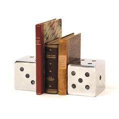 Polished Aluminum,Press Your Luck Bookends, Go Home, Hip Vintage, Bookend