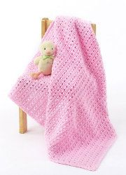 "One Skein Baby Blanket | ""Pretty in pink"" has been amped up to a whole new level with this easy crochet baby blanket."