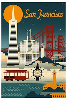 San Francisco, California - Retro Skyline (12x18 Art Print Wall Decor) Lantern Press http://www.amazon.com/dp/B00N5CGJB4/ref=cm_sw_r_pi_dp_BveRvb1GYPV80