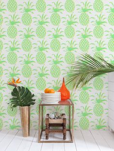 Pina wallpaper in Citrus by Aimee Wilder