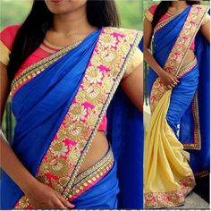 Nylon+Border+Work+Royal+Blue+&+Cream+Plain+Half+&+Half+Saree+-+112 at Rs 1849