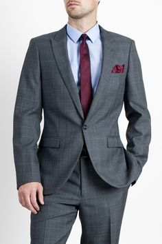 Mens Grey One Button Prince of Wales Window Pane Check Suit by Peter Werth  Checked Suit 395d69b6069