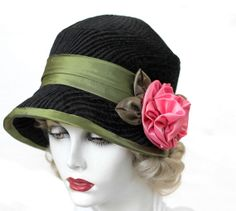 1920's Cloche Hat in Black with Olive Green Trim and Large Pink Flower