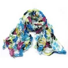 ladies scarf floral blue billie design scarves shawls wrap neck soft fashion