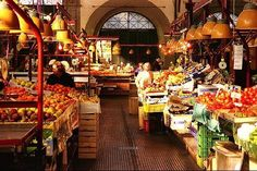 The two story, open-air food market in Florence. Individual vendors selling everything you could possible need or desire.