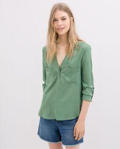 Image 1 of EMBELLISHED BLOUSE WITH V BACK from Zara