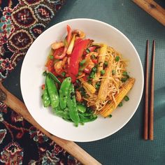 Recipes // Prawn Noodle Stir Fry with Chilli, Miso and Mangetout