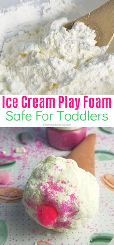 Toddler Taste Safe Play Foam Dough Ice Cream Cones that kids will love playing with. This is a fabulous developmental and fine motor activity for kids! Ice Cream Dough, Ice Cream Cone Craft, Ice Cream Crafts, Ice Cream Art, Ice Cream Theme, Ice Cream Playdough, Play Ice Cream, Fine Motor Activities For Kids, Sensory Activities Toddlers