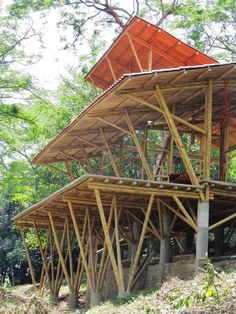 Timber Architecture, Sustainable Architecture, Architecture Details, Bamboo Decking, Bamboo Roof, Geometric Construction, Bamboo Construction, Bamboo Structure, Timber Structure