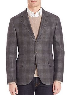 Brunello Cucinelli Plaid Linen-Blend Blazer - Grey - Size 5