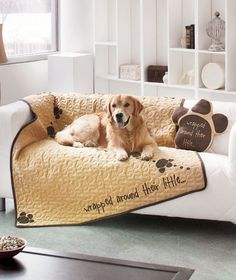 Quilted Pet Throws or Shaped Pillows - keep the dog hair off the couch with these adorable throws!