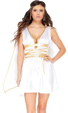 Be the goddess at this year's party in Caesar's Delight Sexy Costume! Gold accented charmeuse dress comes complete with detachable angelic cape and coordinating gold headband. Greek Goddess Fancy Dress, Greek Goddess Costume, Goddess Dress, Grecian Goddess, Costume Dress, Cosplay Costumes, Halloween Costumes, Gladiator Costumes, Toga Party