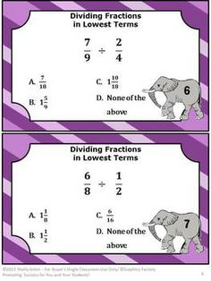 "SALE 28% off August 18-19 Use Code ""BTS13""    Task Cards for Math Dividing Fractions"