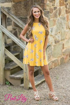 Side Road Adventure Floral Dress Mustard - The Pink Lily
