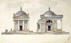 Drawings by Giacomo Quarenghi - Projet d'église au portique ionique, plume et encre de Chine, pinceau, lavis gris, aquarelle sur pierre noire