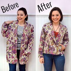 Refashioned Floral Blazer RefashionFriday Blazer to Moto Jacket Refashion trish stitched Diy Clothing, Sewing Clothes, Recycled Clothing, Thrift Store Refashion, Altering Clothes, Floral Blazer, Recycled Fashion, Old T Shirts, Sustainable Fabrics