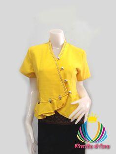 เสื้อผ้าไทยสีเหลือง เสื้อผ้าฝ้ายสวยๆสีเหลือง เสื้อทำงานผ้าไทย เสื้อผ้าฝ้ายคอจีนสีเหลือง ปักมุกแต่งเกล็ดเอวระบายสไตน์วัยรุ่น