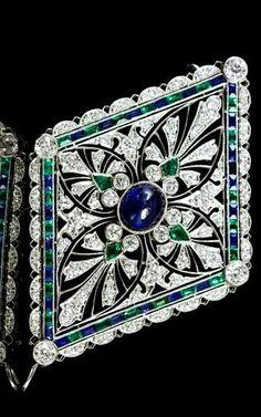 A Fine Platinum, Sapphire, Diamond and Emerald Pendant/Brooch, Tiffany & Co., Circa 1912,