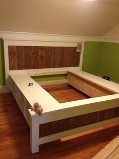 King Size Farmhouse Storage Bed From 2 Ana White Plans Bed Ideals