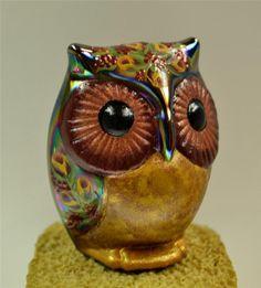 Fenton OWL Black Marigold Carnival BURGUNDY ROSEBUDS * OOAK ~ My favorite of all Fenton figurines! <3