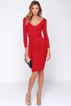 LULUS Exclusive Cocktails and Dreams Red Midi Dress at Lulus.com! I AM IN LOVE WITH THIS DRESS!!