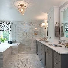 Gray And White Bathroom Design Ideas Pictures Remodel And Decor - Master bathroom ideas with white cabinets
