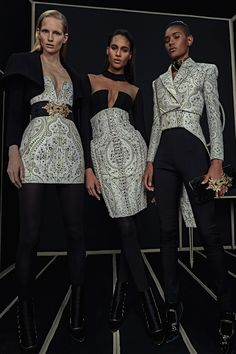 Balmain | Pre-Fall/Winter 2016 Ready-To-Wear Collection via Designer Olivier Rousteing | Modeled by ?, Cindy Bruna, Ysaunny Brito | January 25, 2016; New York