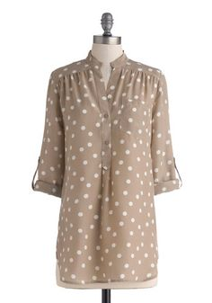 Hosting for the Weekend Tunic in Taupe | Mod Retro Vintage Short Sleeve Shirts | ModCloth.com