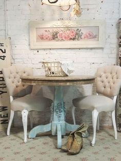 Shabby chic corner with small table and two chairs