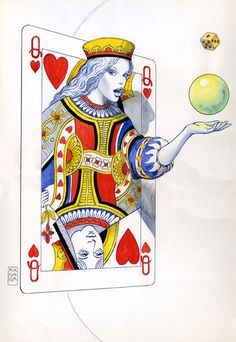 """Queen of Hearts,"" a watercolor drawing by Milo Manara. // 3d figure coming out of a flat surface"