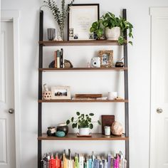 32 Nice Farmhouse Shelf Decor Ideas Best For Living Room - Why choose a farmhouse decor rustic picture frame? We get asked that question a lot. You'd think after so many seasons of Fixer Upper with Chip & . Bookshelves In Bedroom, Decorating Bookshelves, Modern Bookcase, Modern Shelving, Rustic Shelves, Industrial Shelves, Leaning Shelf, Leaning Bookshelf, Ladder Bookshelf