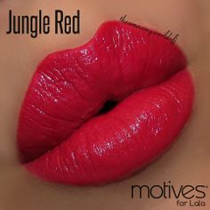 """""""Jungle Red"""".  Motives® for La La Moisture Rich Lipstick. Available at http://us.opc3.com/mabelchan/product/motives-for-la-la-moisture-rich-lipstick/?id=101MLMRL&skuName=jungle-red&idType=sku"""