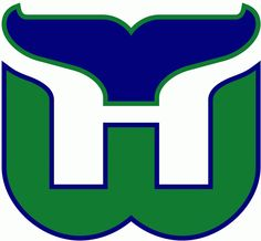 WHA Hartford Whalers Primary Logo (1980) - A green W with a blue whale tail above it forming an H in white