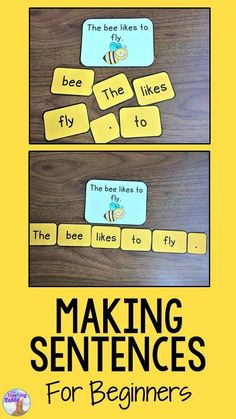 Making Sentences with Beginners Teach your kindergarten students how to begin making simple sentences! p Making Sentences with Beginners Teach your kindergarten students how to begin making simple sentences sentences makingsentences sentencebuilding kinde 1st Grade Writing, First Grade Reading, Teaching Writing, Teaching French, Teaching Spanish, Teaching Phonics, Teaching Ideas, Making Sentences, Simple Sentences