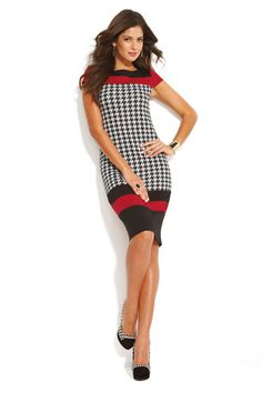 Colorblock Houndstooth Dress