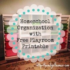 Homeschool Organization plus Free Printable.  Our formal dining room has been the dining room for a brief time, the catch-all room, my crafting room, the guest bedroom complete with an air mattress and portable clothing rack, and now it's being transformed into the homeschool/playroom.