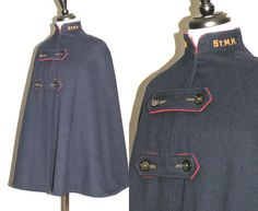 Vintage 1940s WWII Nurse's Cape, Monogrammed Navy Blue Wool Nursing Uniform Cloak Coat with Red Lining by daisyandstella on Etsy
