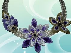 Ожерелье в стиле канзаши)из репсовой ленты,МК от Наталии Кухта) - YouTube