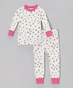 Take a look at this Cat & Cow Pink & White Flower Pajama Set - Infant, Toddler & Girls on zulily today!