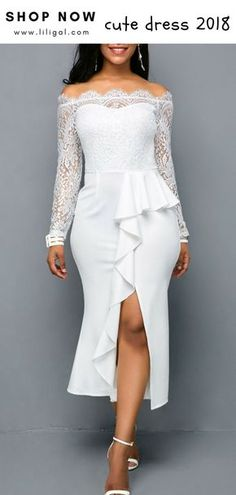 0c85e271d8f USD39.63 Lace Panel Long Sleeve White Sheath Bardot Dress  liligal  dresses   womenswear  womensfashion