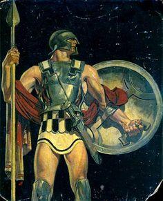 Leyendecker, JC (b,1874)- Early Roman Soldier (Study) [F- Kuppenheimer's Trojan Weave- ad], Apr, 1927 -2a