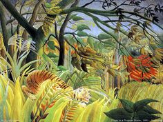 Henri Rousseau tiger in a tropical storm oil painting for sale; Select your favorite Henri Rousseau tiger in a tropical storm painting on canvas or frame at discount price. Henri Rousseau Paintings, Jungle Scene, Jungle Art, Jungle Animals, Wild Animals, Jungle Drawing, Large Animals, Post Impressionism, Naive Art