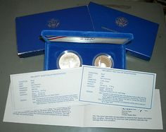 1986-S Statue of Liberty Silver Dollar Ellis Island Half 2 Coin Proof Boxed Set $0.99 NO RESERVE!