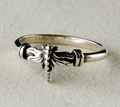 Dragonfly Sterling Silver Ring by JanPalomboDesign on Etsy