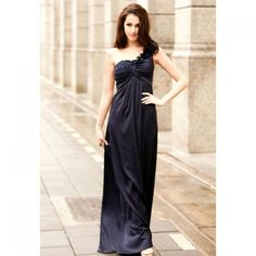 Gorgreous Strapless Off-One-Shoulder Flower Decorated Royal Blue Imitated Silk Maxi Dress For Women