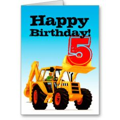 Yellow Digger 5th Birthday Card from TruckStore by Paul Stickland #trucks #diggers #kids #truckparty #diggerparty