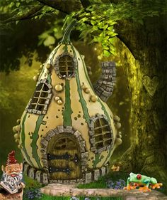 An enchanted striped gourd fairy house for your mini fairy gardens. Enchanted Fairies, Enchanted Garden, Fairy Garden Houses, Garden Art, Fairy Gardens, Miniature Gardens, Small Gardens, Fairy Land, Fairy Tales