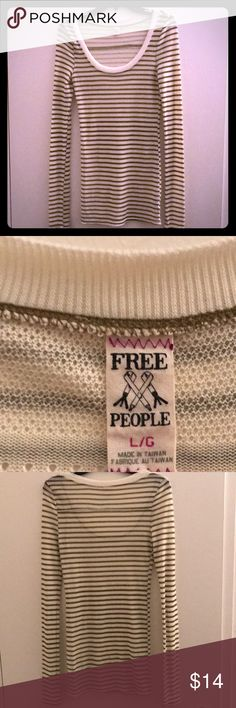 Free People striped shirt Relaxed style- light weight shirt to wear over a camisole.  Gently worn. Good condition.  Free People.   Off white (cream) and light green stripes.  (Size L/G) Free People Tops Tees - Long Sleeve