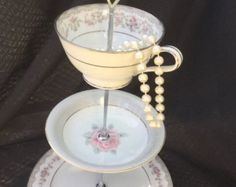 Items similar to High Tea for Alice 1 CUSTOM 3-Tier Tea & Cupcake Stand of Vintage Fine China to Match Wedding Colors, Birthday Party or Home Decor Scheme on Etsy