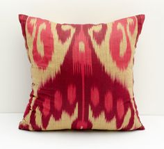 13x13 red cream burgundy ikat pillow covers ikat pillow by SilkWay